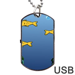 Water Bubbles Fish Seaworld Blue Dog Tag Usb Flash (two Sides) by Mariart