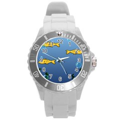 Water Bubbles Fish Seaworld Blue Round Plastic Sport Watch (l) by Mariart