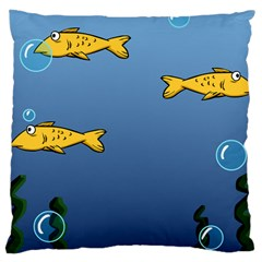 Water Bubbles Fish Seaworld Blue Large Cushion Case (one Side) by Mariart