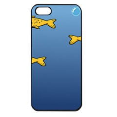 Water Bubbles Fish Seaworld Blue Apple Iphone 5 Seamless Case (black) by Mariart