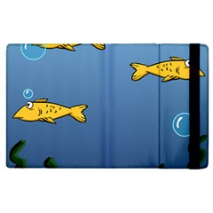 Water Bubbles Fish Seaworld Blue Apple Ipad 2 Flip Case by Mariart