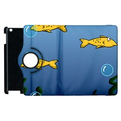 Water Bubbles Fish Seaworld Blue Apple Ipad 3/4 Flip 360 Case by Mariart