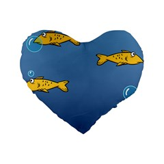 Water Bubbles Fish Seaworld Blue Standard 16  Premium Heart Shape Cushions by Mariart
