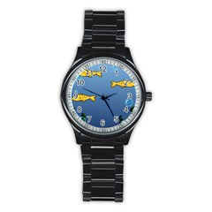 Water Bubbles Fish Seaworld Blue Stainless Steel Round Watch by Mariart