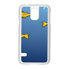 Water Bubbles Fish Seaworld Blue Samsung Galaxy S5 Case (white) by Mariart