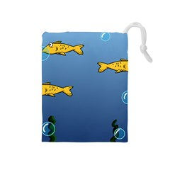 Water Bubbles Fish Seaworld Blue Drawstring Pouches (medium)  by Mariart