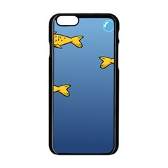 Water Bubbles Fish Seaworld Blue Apple Iphone 6/6s Black Enamel Case by Mariart