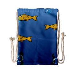 Water Bubbles Fish Seaworld Blue Drawstring Bag (small) by Mariart