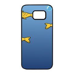 Water Bubbles Fish Seaworld Blue Samsung Galaxy S7 Edge Black Seamless Case by Mariart