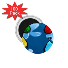 Water Balloon Blue Red Green Yellow Spot 1 75  Magnets (100 Pack)