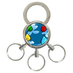 Water Balloon Blue Red Green Yellow Spot 3 Ring Key Chains by Mariart