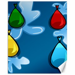 Water Balloon Blue Red Green Yellow Spot Canvas 16  X 20   by Mariart