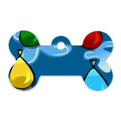 Water Balloon Blue Red Green Yellow Spot Dog Tag Bone (two Sides) by Mariart