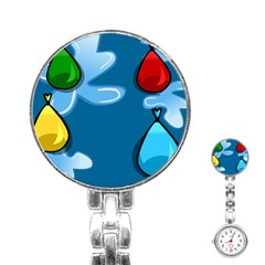 Water Balloon Blue Red Green Yellow Spot Stainless Steel Nurses Watch by Mariart