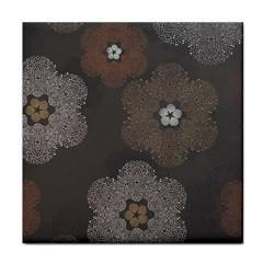 Walls Medallion Floral Grey Polka Tile Coasters by Mariart