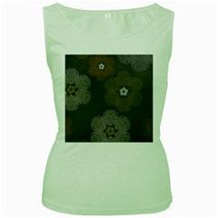 Walls Medallion Floral Grey Polka Women s Green Tank Top by Mariart