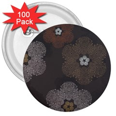 Walls Medallion Floral Grey Polka 3  Buttons (100 Pack)  by Mariart