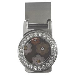 Walls Medallion Floral Grey Polka Money Clips (cz)  by Mariart