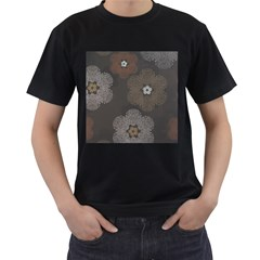 Walls Medallion Floral Grey Polka Men s T Shirt (black) (two Sided)