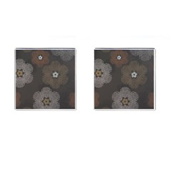 Walls Medallion Floral Grey Polka Cufflinks (square) by Mariart