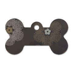 Walls Medallion Floral Grey Polka Dog Tag Bone (two Sides) by Mariart