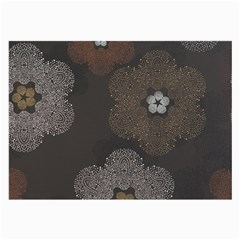 Walls Medallion Floral Grey Polka Large Glasses Cloth (2 Side) by Mariart