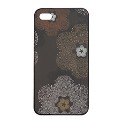 Walls Medallion Floral Grey Polka Apple Iphone 4/4s Seamless Case (black) by Mariart