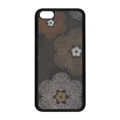 Walls Medallion Floral Grey Polka Apple Iphone 5c Seamless Case (black) by Mariart