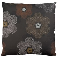 Walls Medallion Floral Grey Polka Large Flano Cushion Case (two Sides) by Mariart