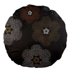 Walls Medallion Floral Grey Polka Large 18  Premium Flano Round Cushions by Mariart