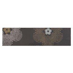 Walls Medallion Floral Grey Polka Satin Scarf (oblong) by Mariart