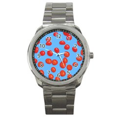 Tomatoes Fruite Slice Red Sport Metal Watch by Mariart