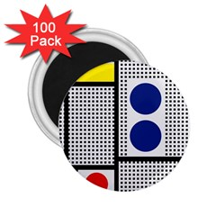 Watermark Circle Polka Dots Black Red Yellow Plaid 2 25  Magnets (100 Pack)  by Mariart