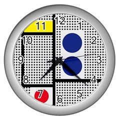 Watermark Circle Polka Dots Black Red Yellow Plaid Wall Clocks (silver)
