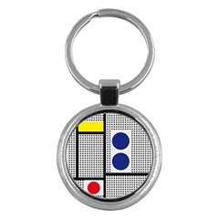 Watermark Circle Polka Dots Black Red Yellow Plaid Key Chains (round)  by Mariart