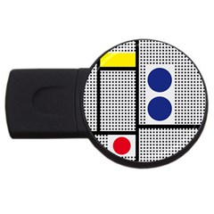 Watermark Circle Polka Dots Black Red Yellow Plaid Usb Flash Drive Round (2 Gb) by Mariart