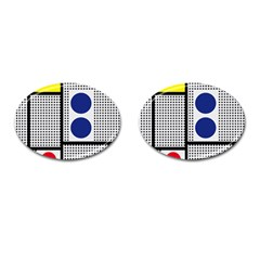 Watermark Circle Polka Dots Black Red Yellow Plaid Cufflinks (oval) by Mariart