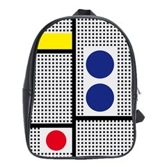 Watermark Circle Polka Dots Black Red Yellow Plaid School Bags (xl)  by Mariart