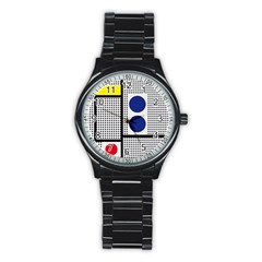 Watermark Circle Polka Dots Black Red Yellow Plaid Stainless Steel Round Watch by Mariart