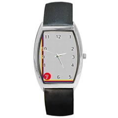 Watermark Circle Polka Dots Black Red Barrel Style Metal Watch by Mariart