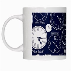Time World Clocks White Mugs by Mariart