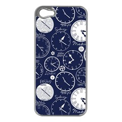 Time World Clocks Apple Iphone 5 Case (silver) by Mariart