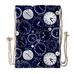 Time World Clocks Drawstring Bag (large) by Mariart