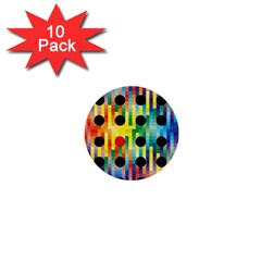 Watermark Circles Squares Polka Dots Rainbow Plaid 1  Mini Buttons (10 Pack)  by Mariart