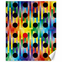 Watermark Circles Squares Polka Dots Rainbow Plaid Canvas 8  X 10  by Mariart