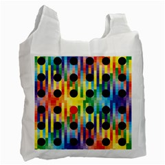 Watermark Circles Squares Polka Dots Rainbow Plaid Recycle Bag (one Side) by Mariart