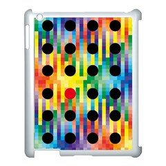 Watermark Circles Squares Polka Dots Rainbow Plaid Apple Ipad 3/4 Case (white)