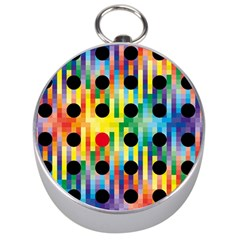 Watermark Circles Squares Polka Dots Rainbow Plaid Silver Compasses by Mariart
