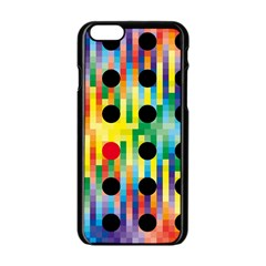 Watermark Circles Squares Polka Dots Rainbow Plaid Apple Iphone 6/6s Black Enamel Case by Mariart