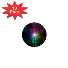 Anodized Rainbow Eyes And Metallic Fractal Flares 1  Mini Magnet (10 Pack)  by jayaprime